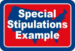 Special Stipulations Example - Owner May Have Similar Language